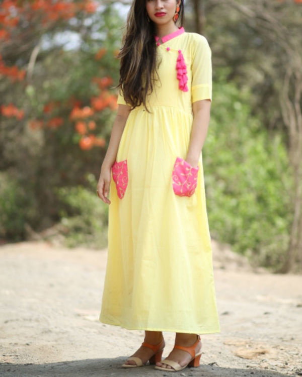 Yellow and pink pocket dress