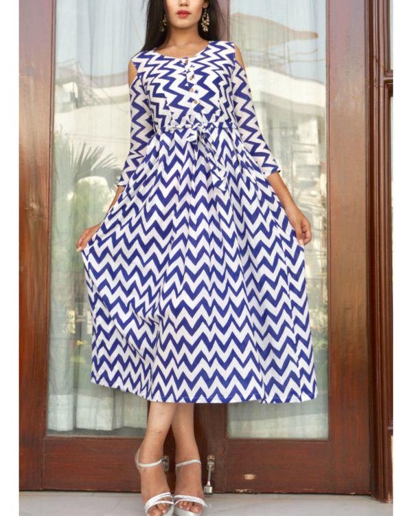 Chevron cold shoulder dress