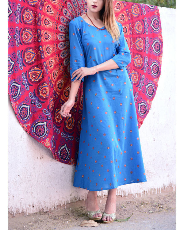 Blue print knot dress