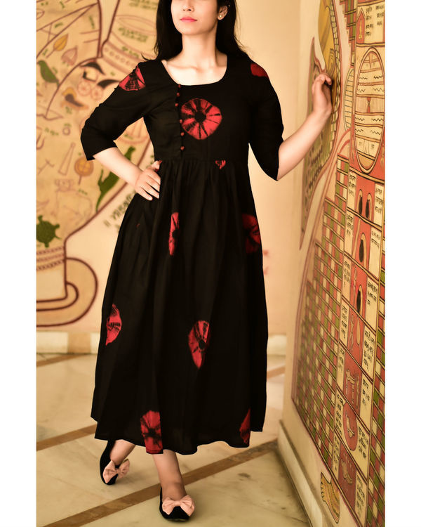 Marsala and black bandhini dress