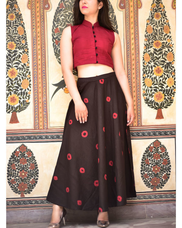 Maroon and black bandhej set