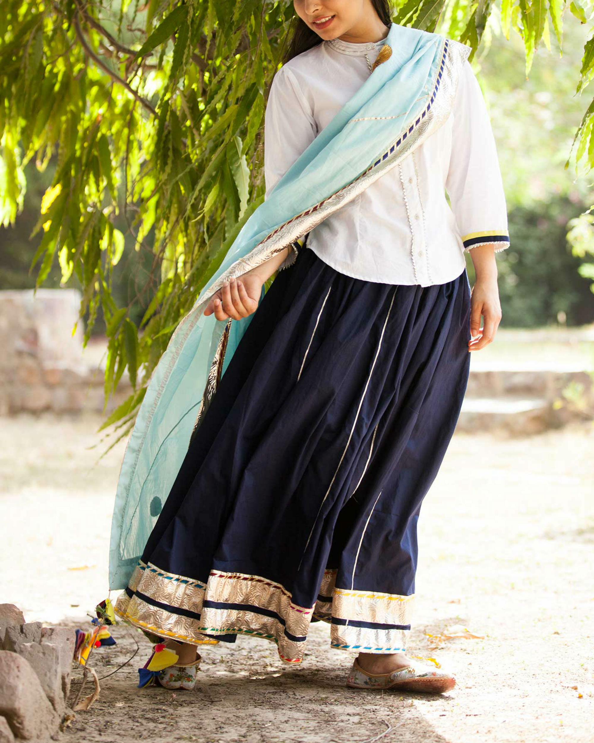 Navy and white lehenga set