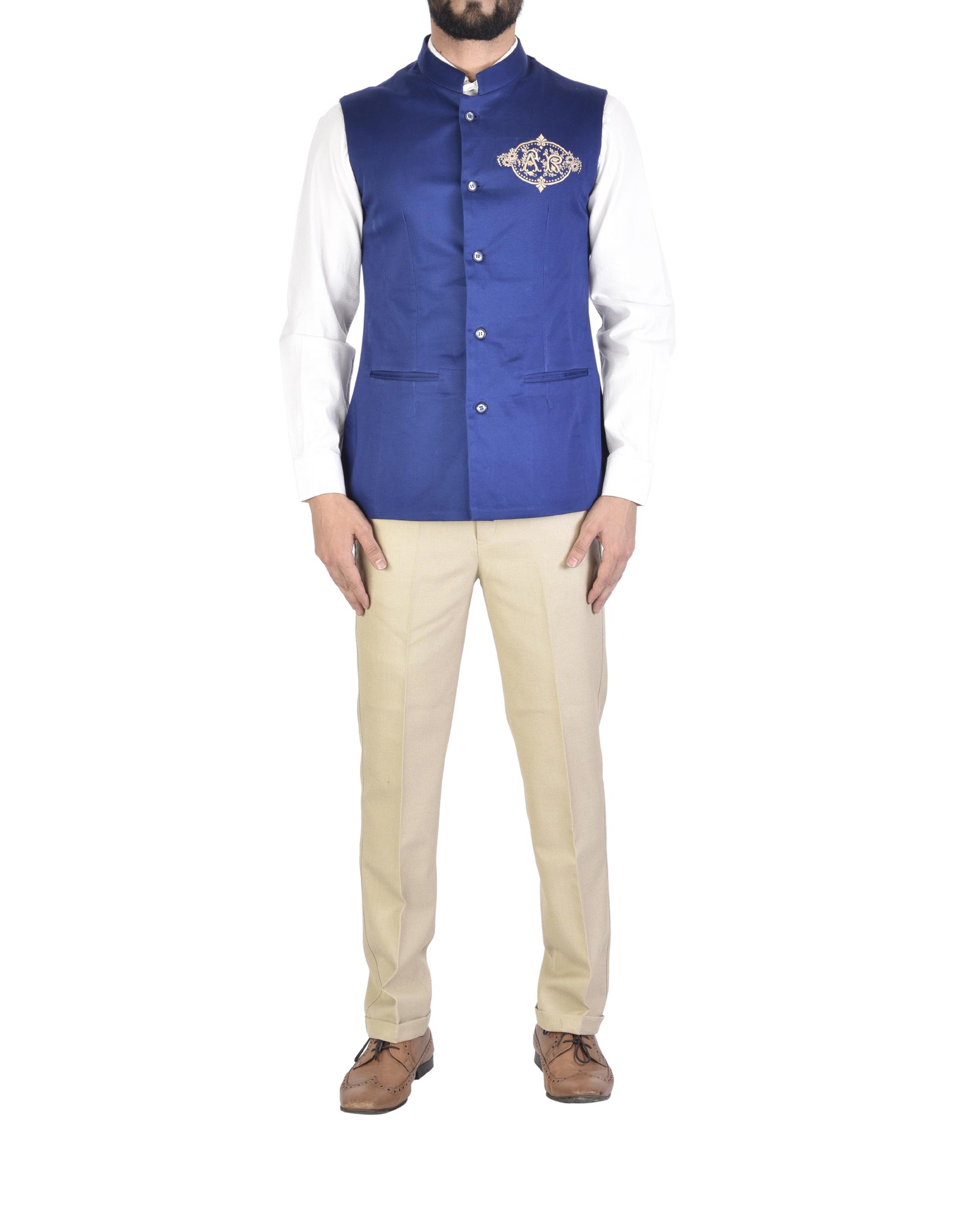 Sleeveless royal blue waistcoat