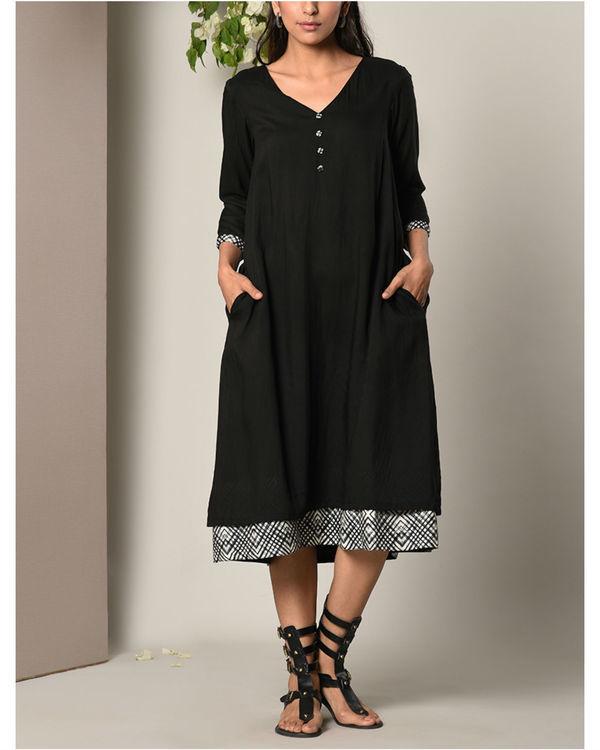 Black peek-a-boo button dress