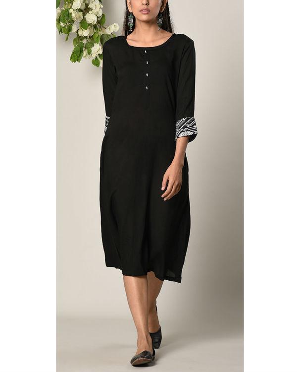 Black printed cuff dress