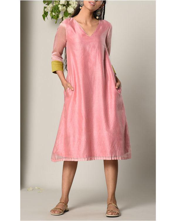 Mud pink green cuff dress