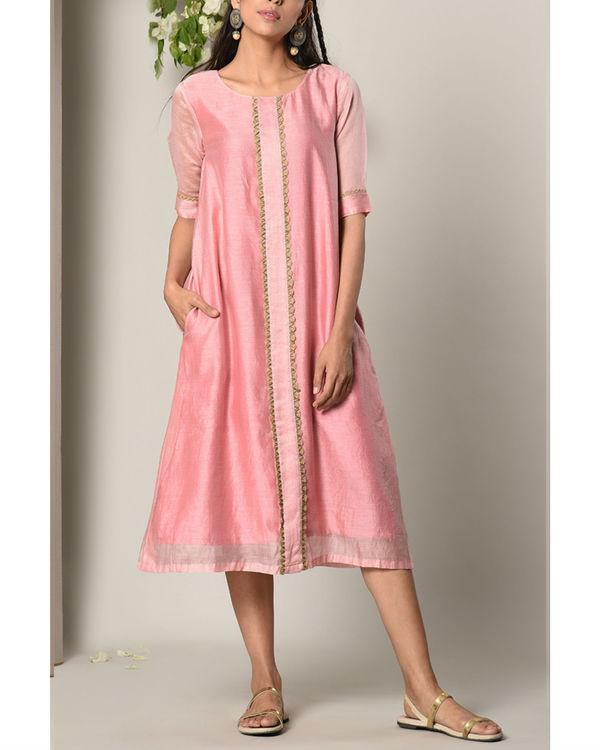 Mud pink jute center panel dress