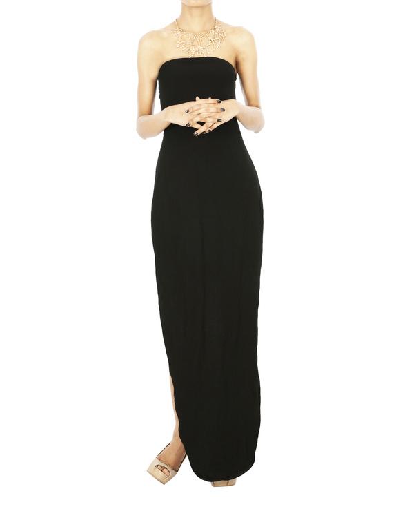 Black Parabolic hem tube dress