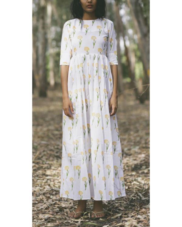 Marigold floral twirl dress