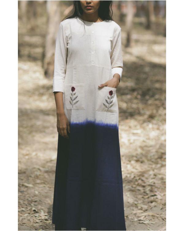 Navy mogra pocket dress
