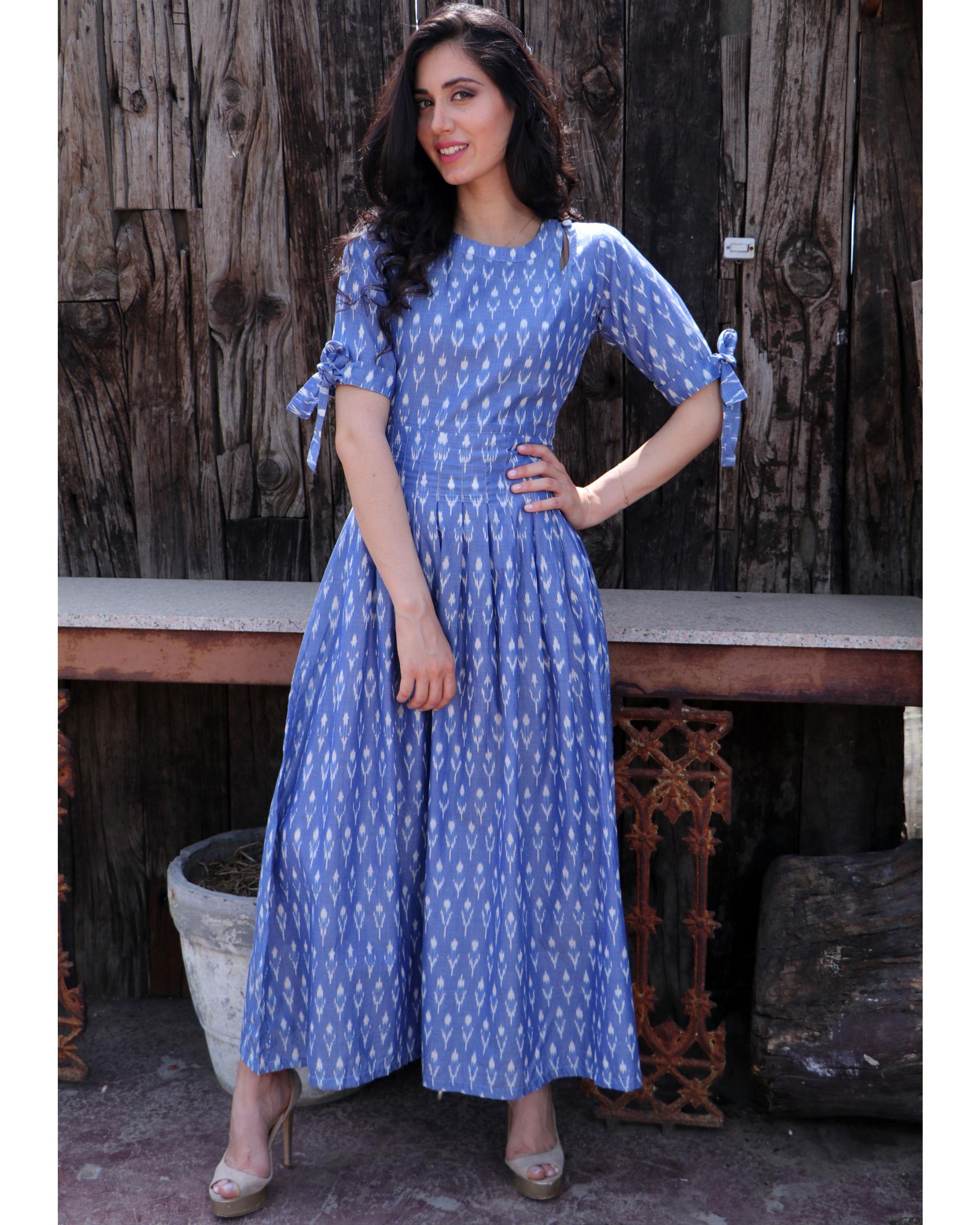 Steel blue knot sleeve dress