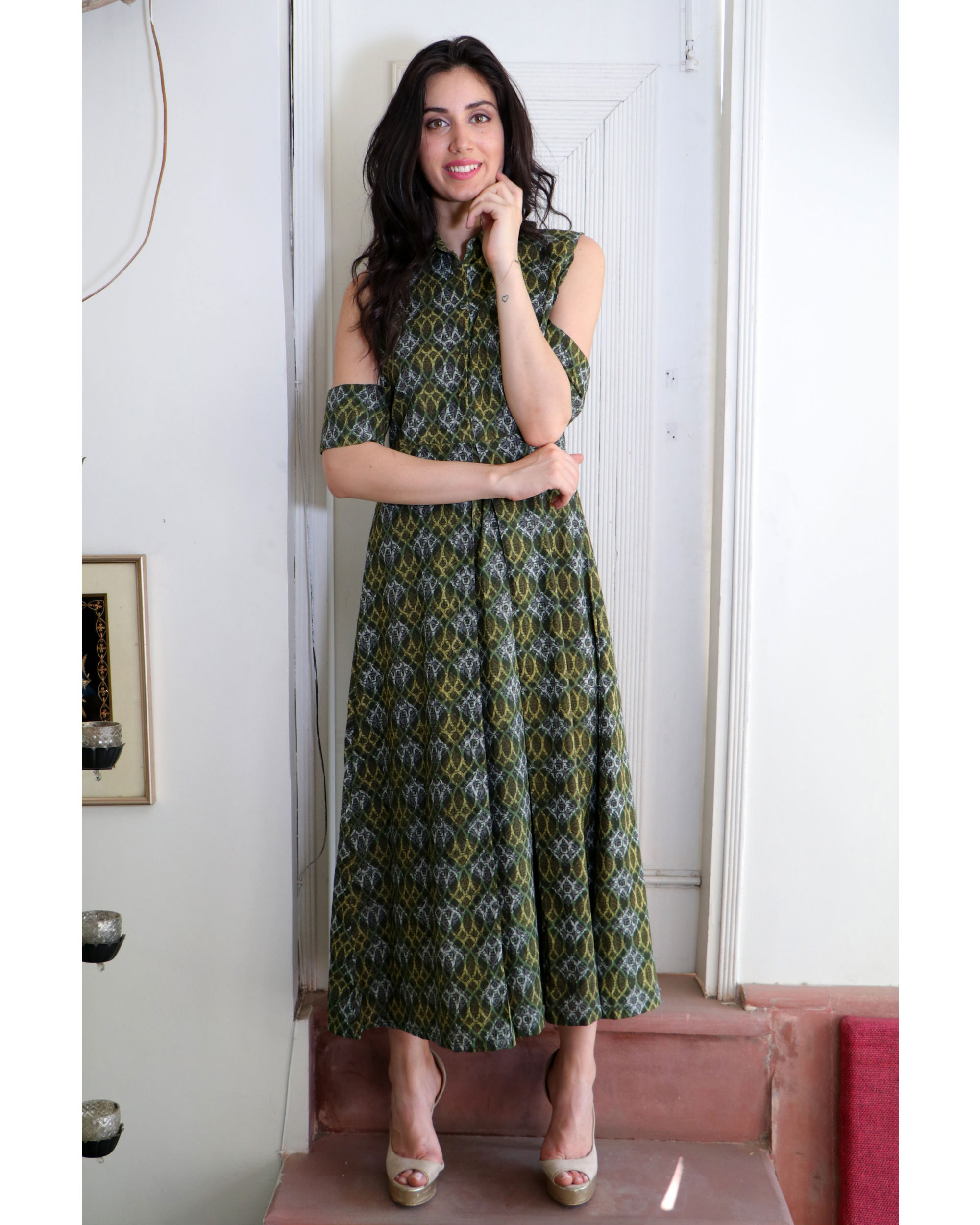 Seaweed green cold shoulder dress