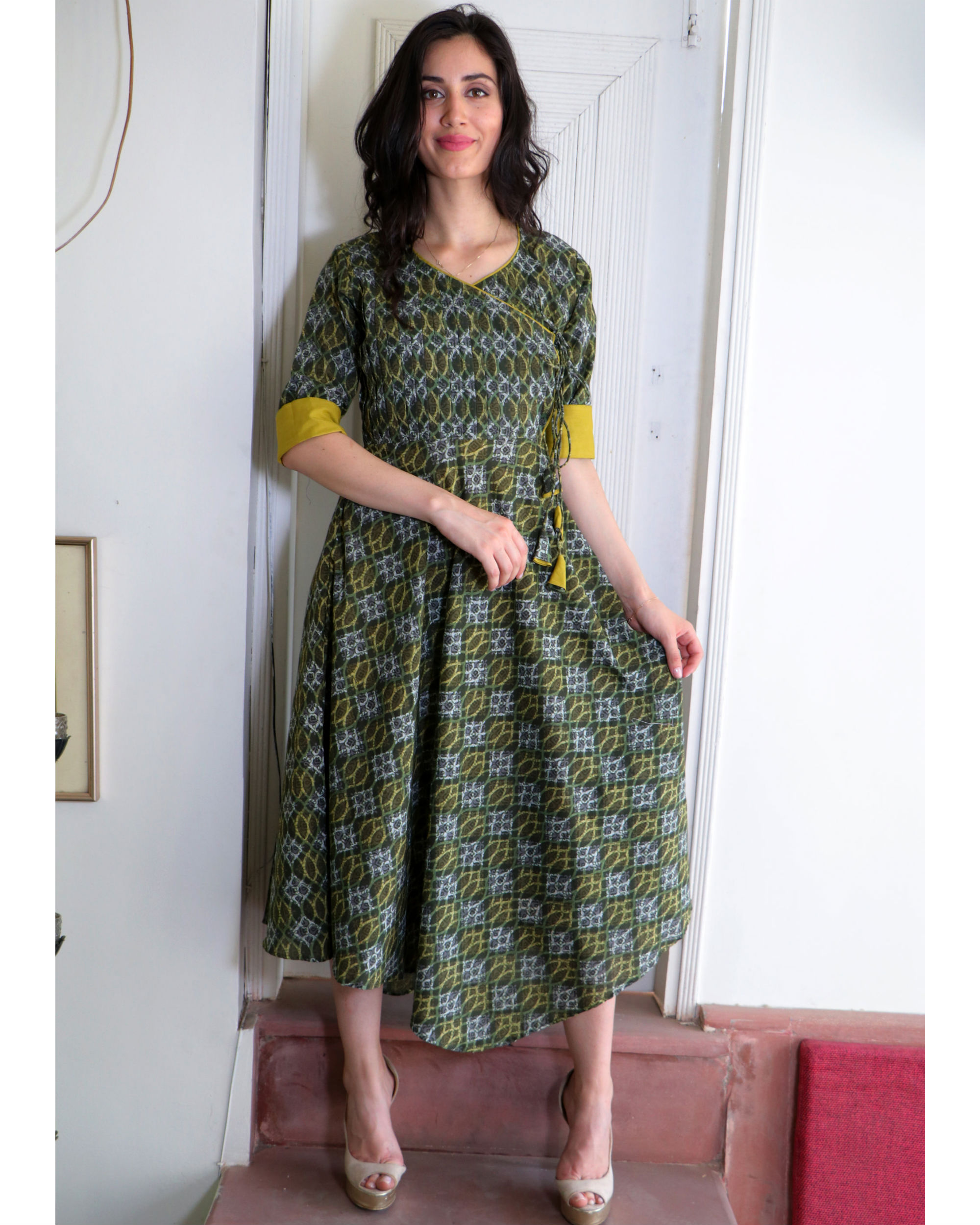Seaweed green angrakha dress