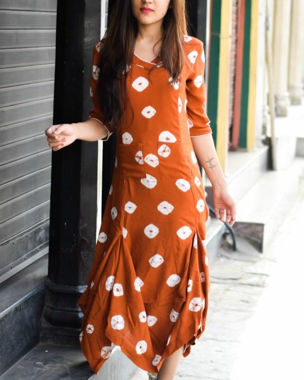 Bandhej cowl dress
