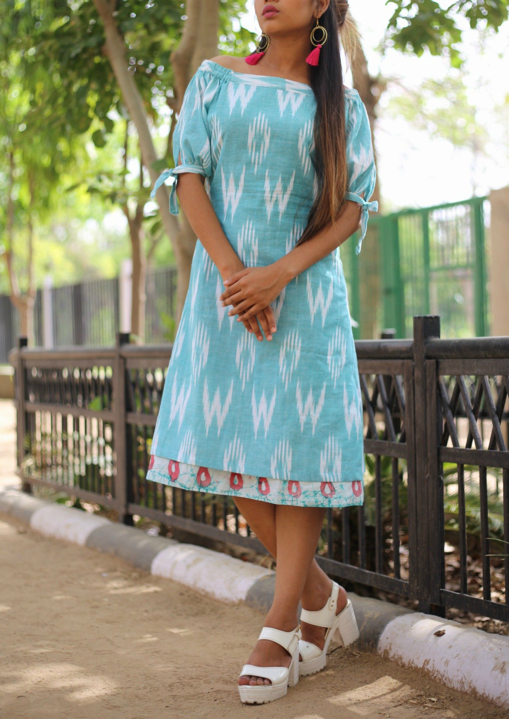 Aqua blue off shoulder dress