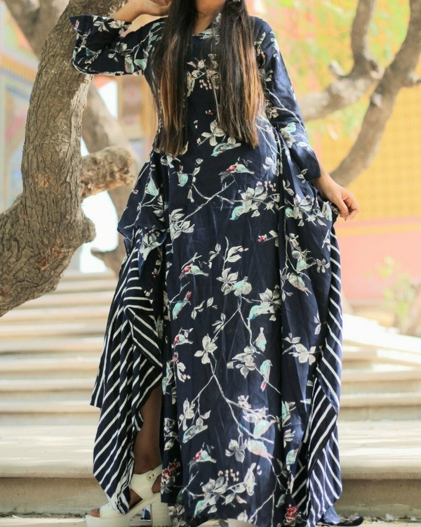 Black floral asymmetrical dress