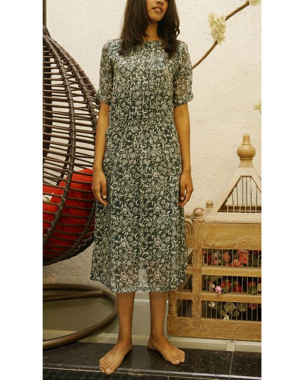 Linen seagreen printed dress