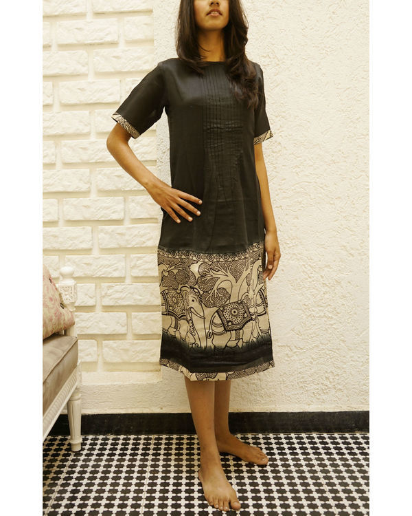 Chanderi elephant print dress