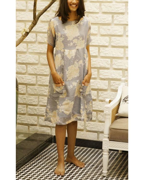 Grey floral linen dress
