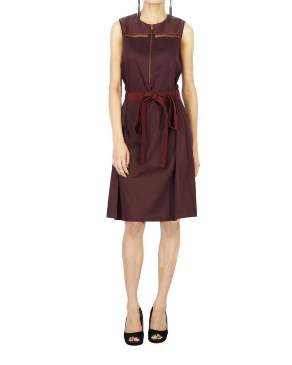 Burgundy tuile strip dress