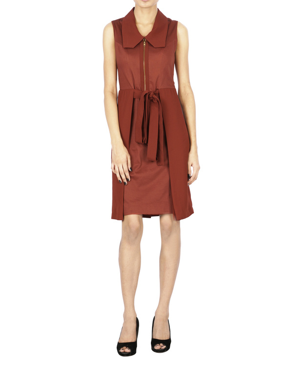 Brick red collar dress