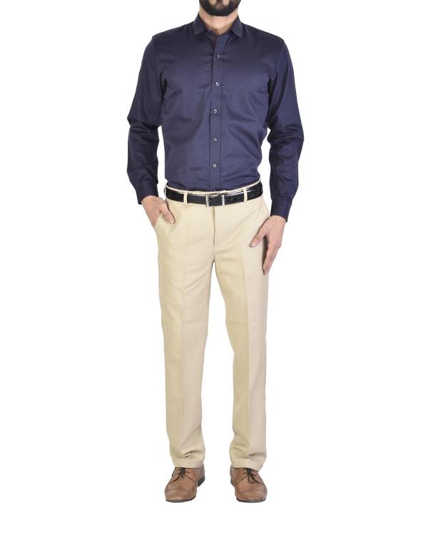 Navy blue polka dot shirt