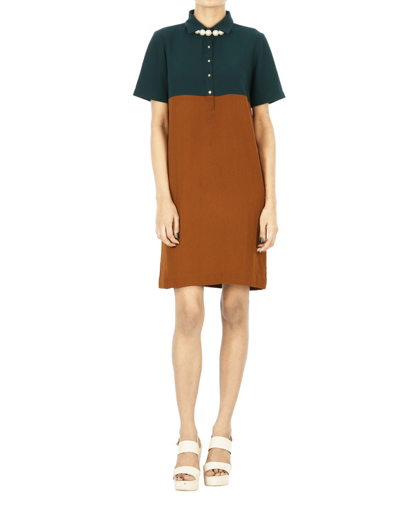Bronze and bottle green shirt dress