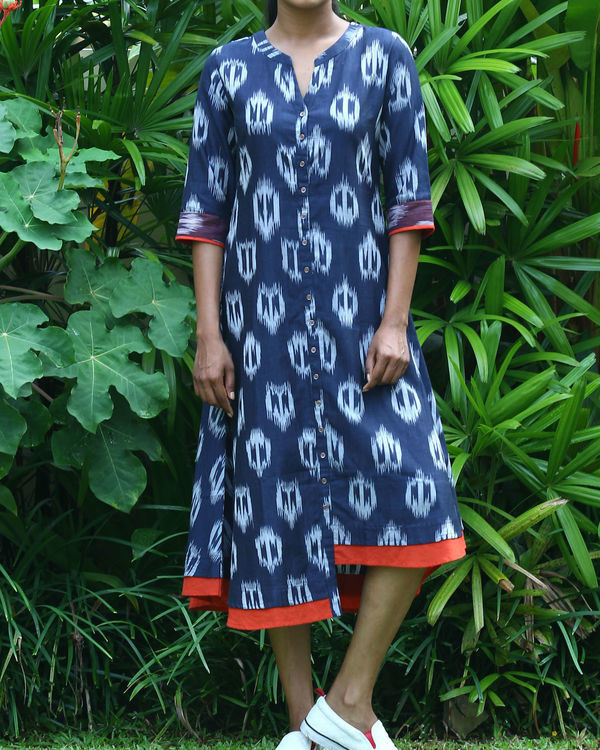 Navy uneven ikat tunic