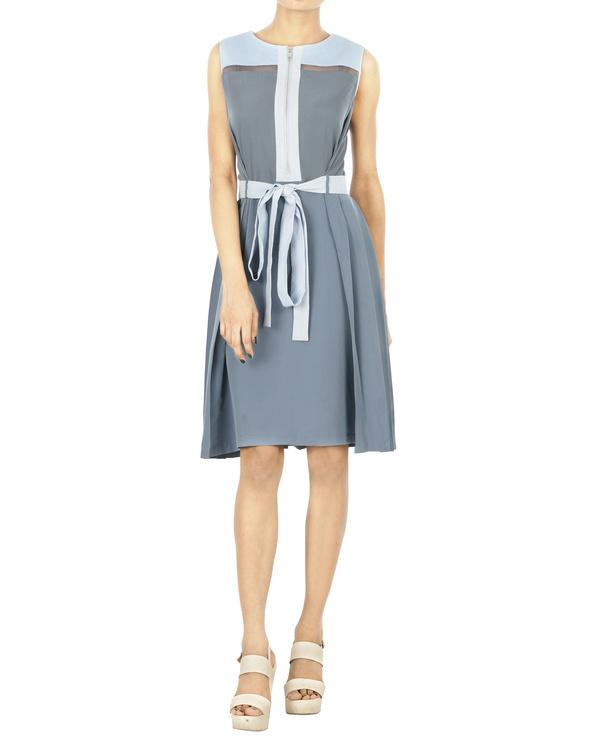 Cool grey pleated dress