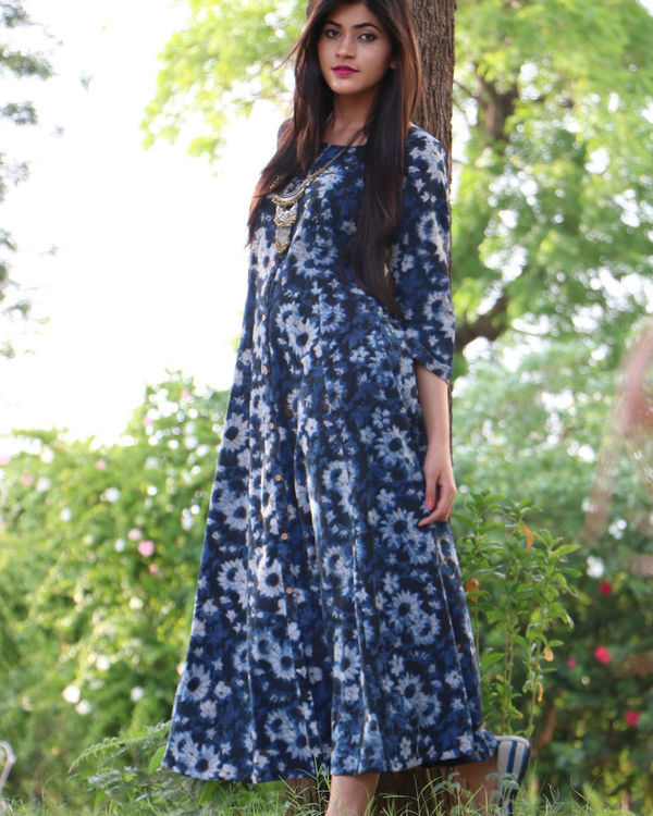 Indigo button down maxi