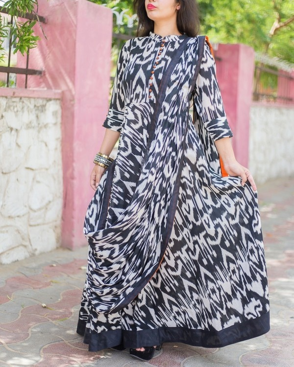 Monochrome drape dress