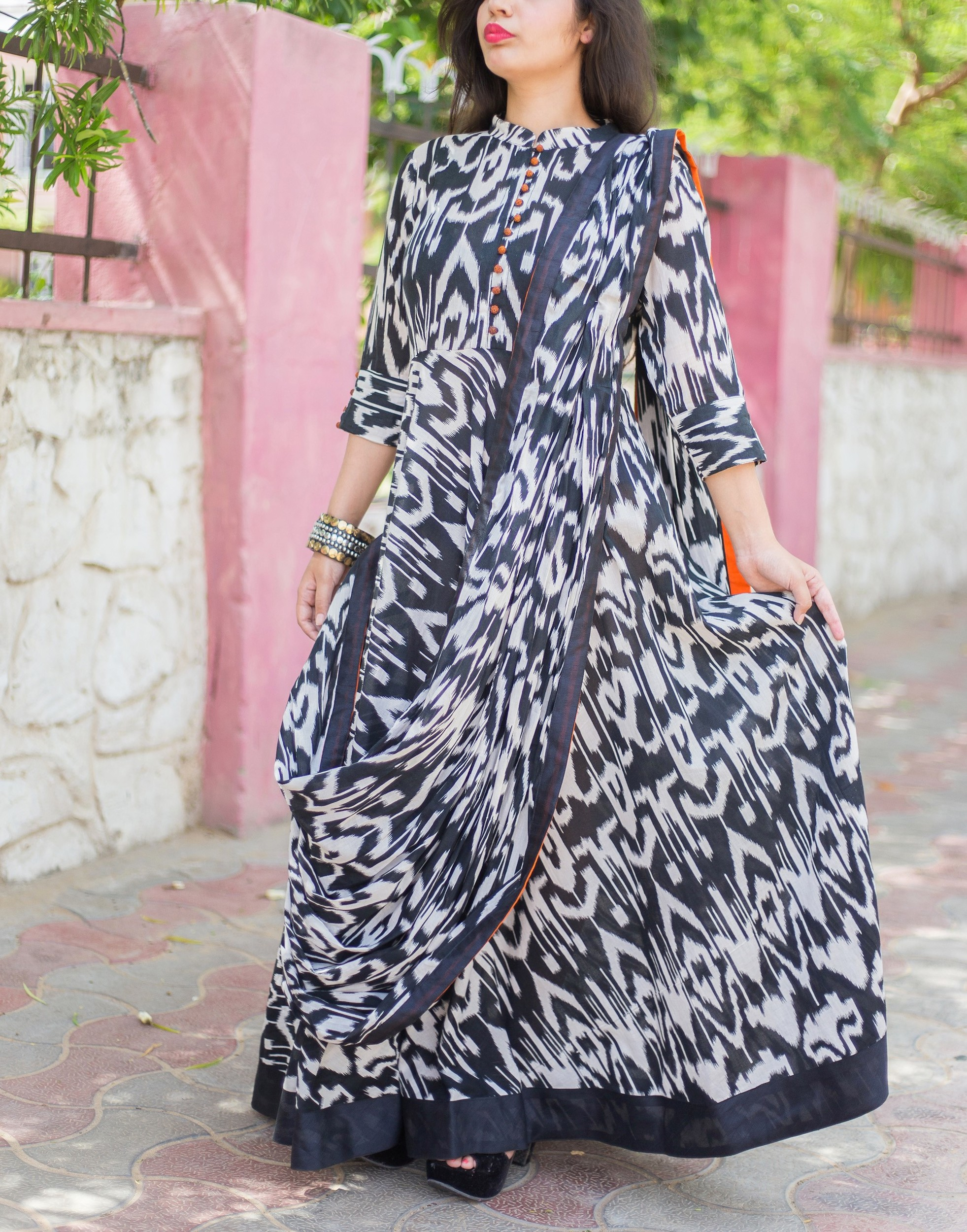 Monochrome drape dress