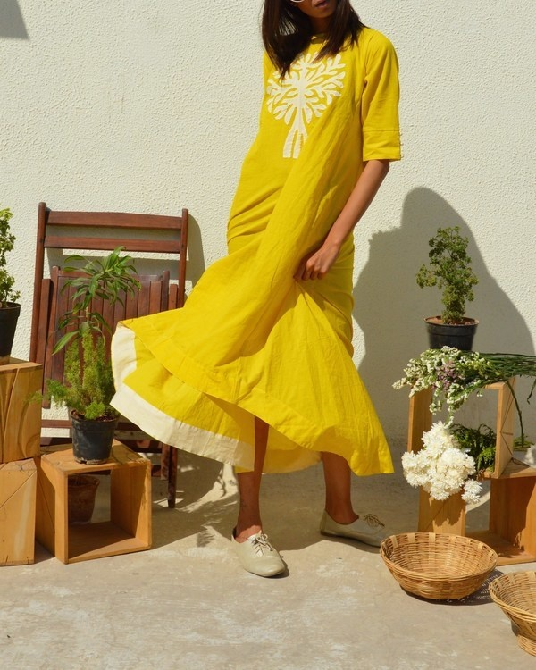 Yellow tree of life tunic