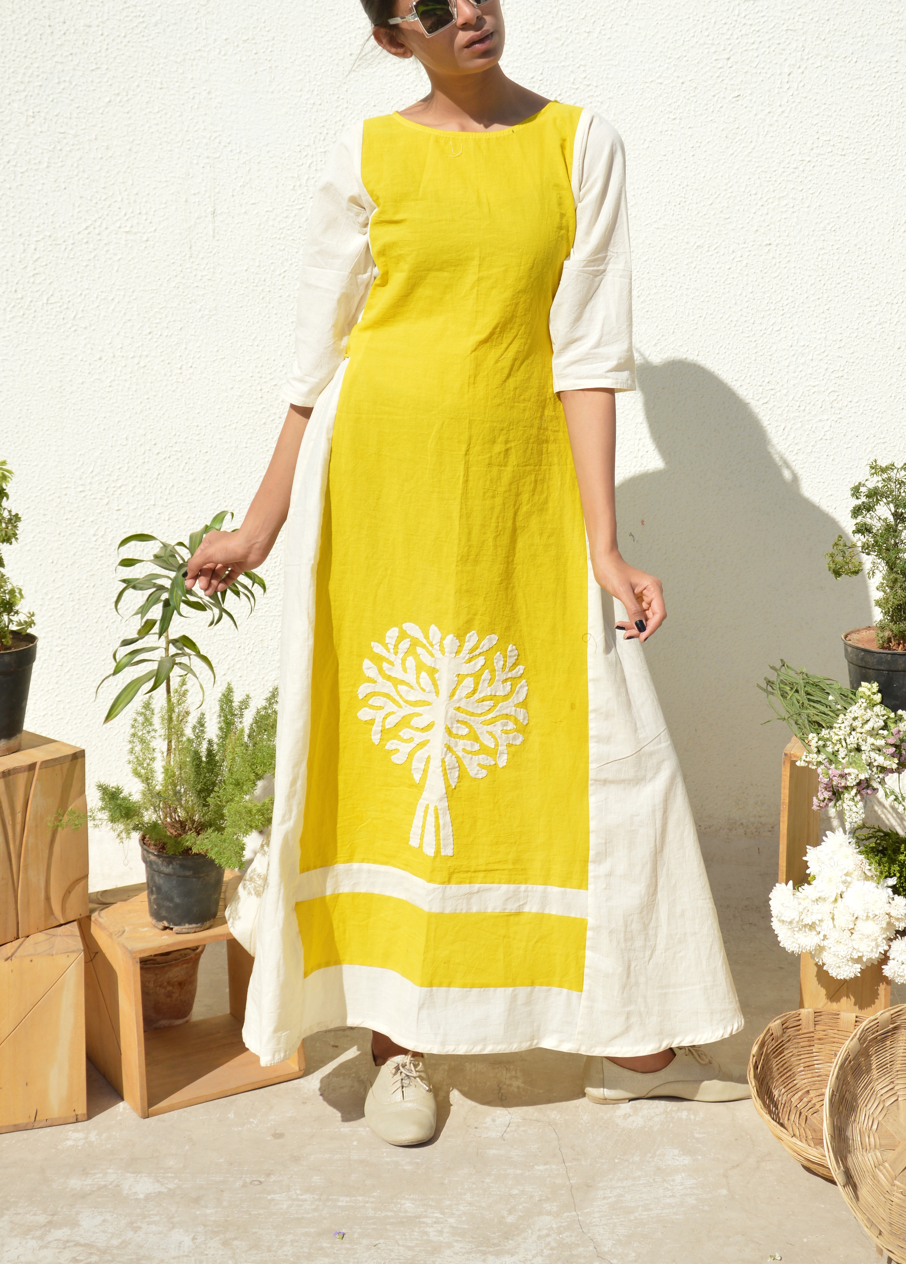 Yellow-white applique dress