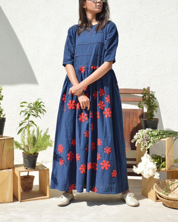 Blue red flower applique dress