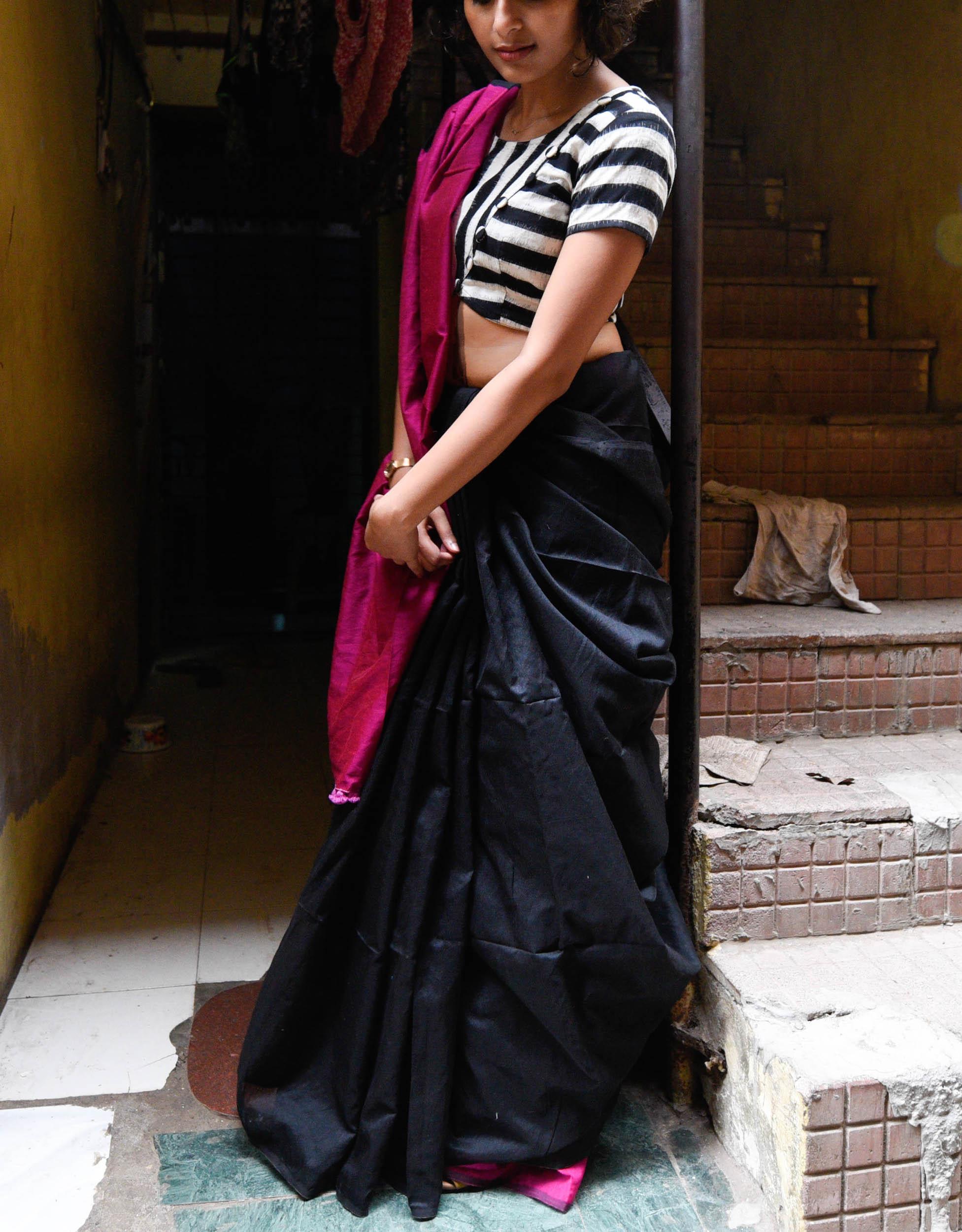 Magenta and black sari