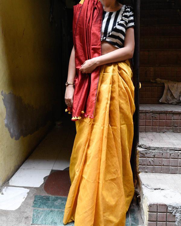 Mustard and scarlet sari