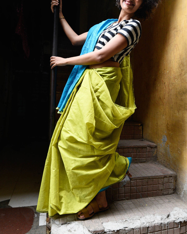Olive and blue sari