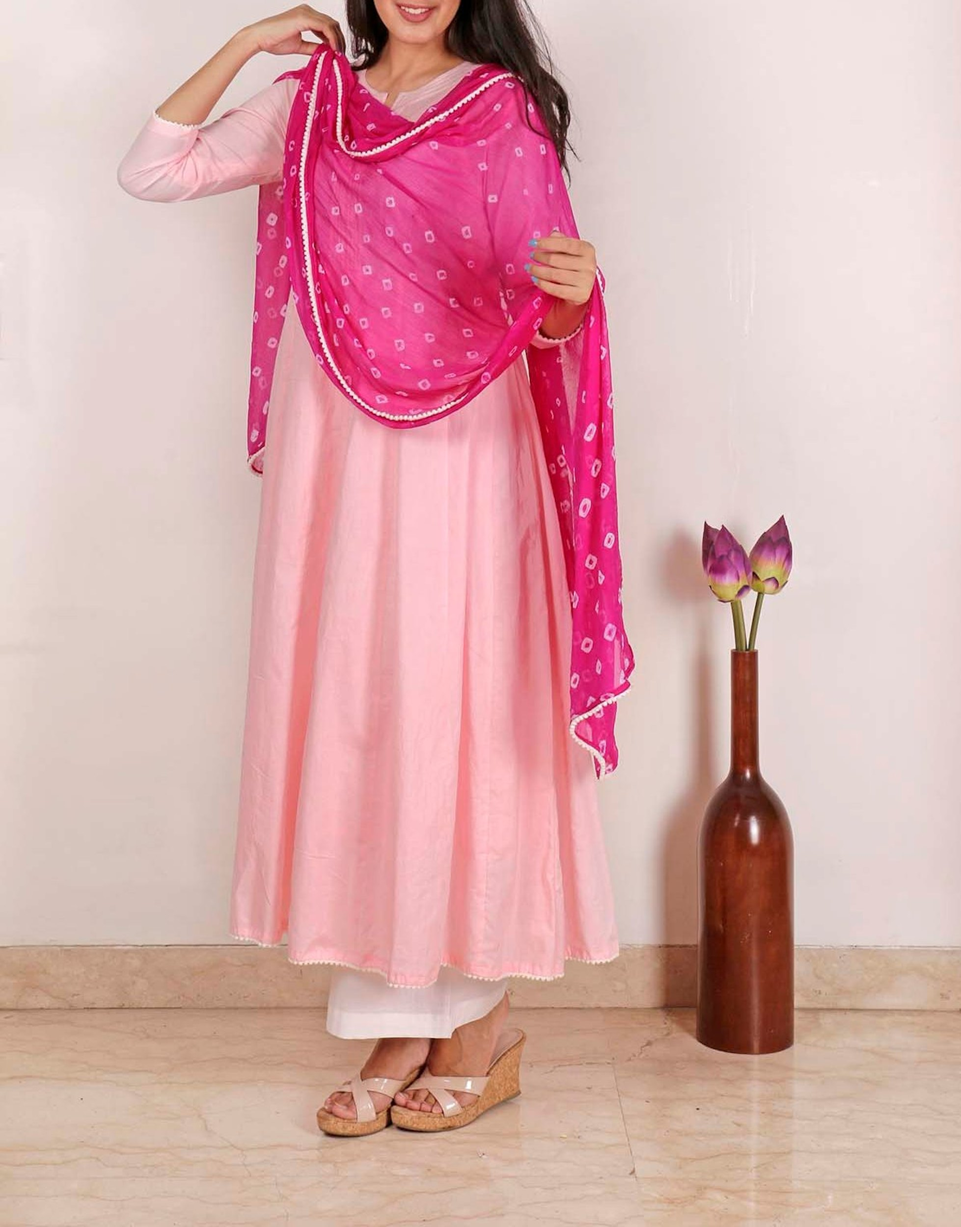 Lemonade pink lilac kurta set with Dupatta