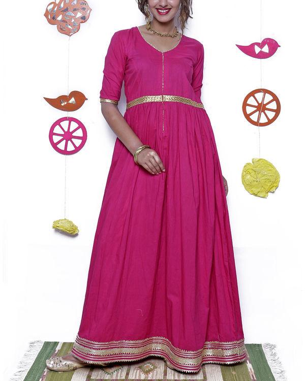 Pink and gold gota dress
