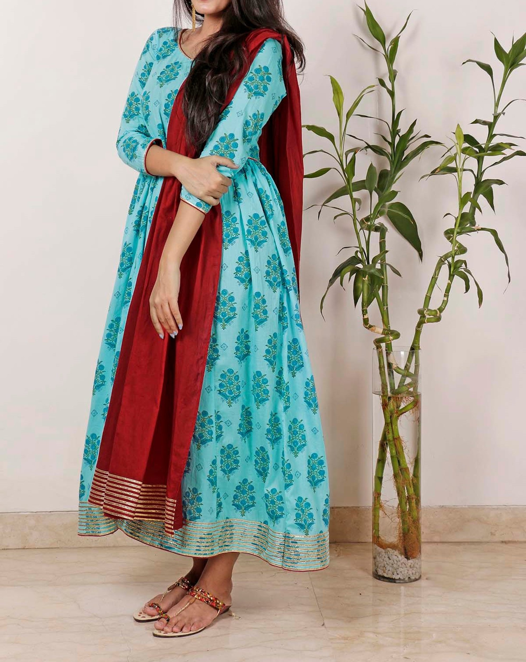 Cyan Gota Tunic with dupatta