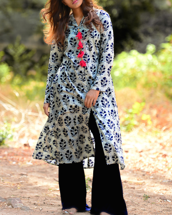 Ash blue tasseled tunic with navy palazzos