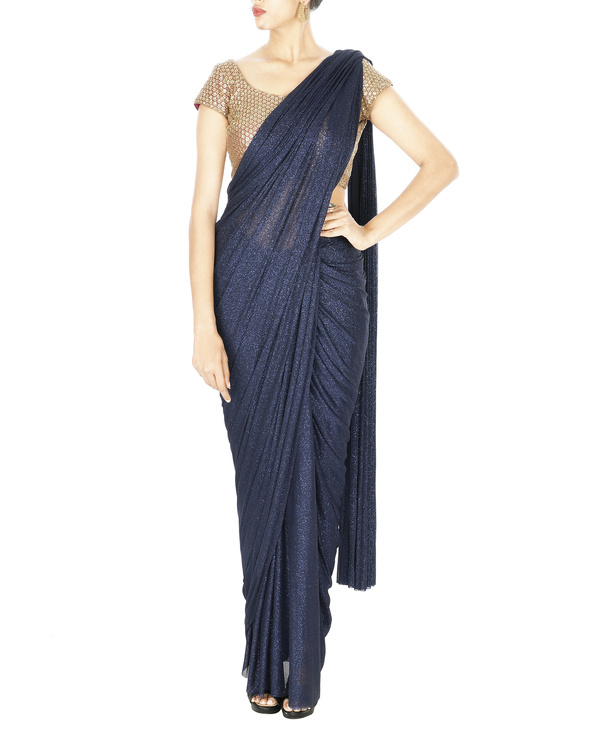 Midnight blue shimmer lycra net pre stitched saree