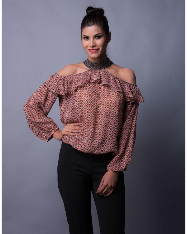 Multi print choker styled ruffled blouse