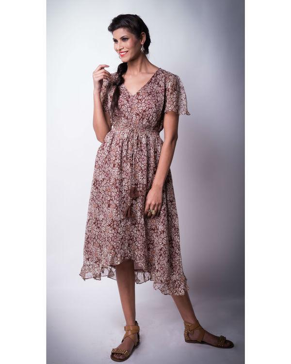 Floral printed caramel high low dress