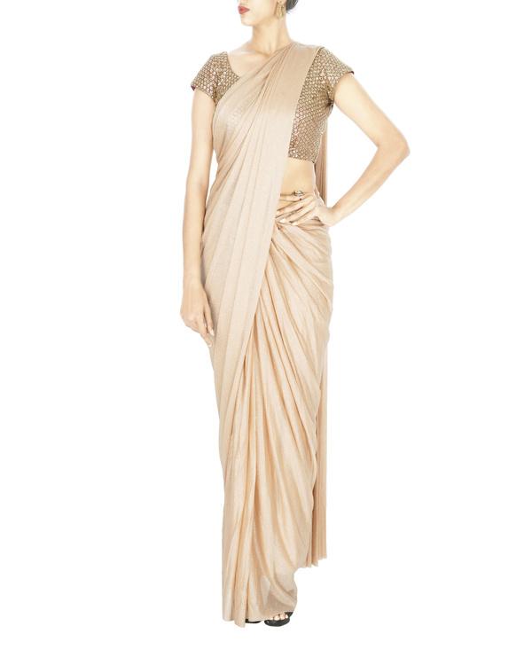 Blush pink shimmer lycra net pre stitched saree