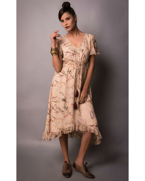 Beige birdie print dress