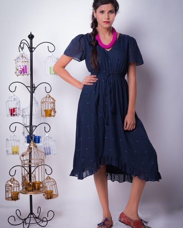 Midnight cotton silk ruffle dress
