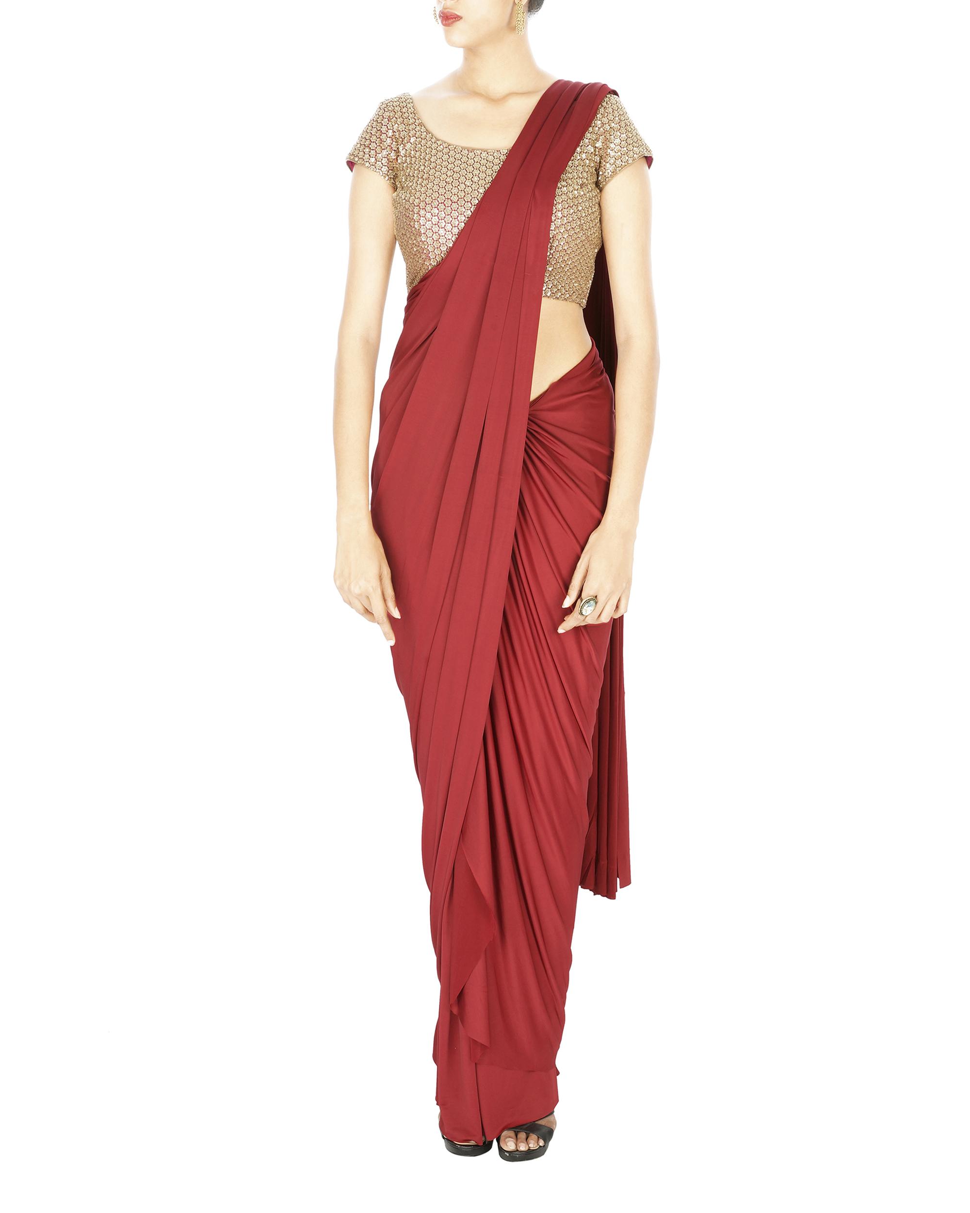 Oxblood lycra pre stitched saree