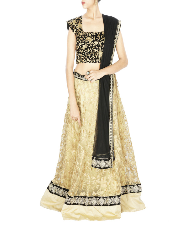 Black and golden lehenga set